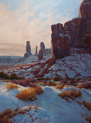 Rimmed in Sunbeams-The Three Sisters, Monument Valley  30 x 22 Oil