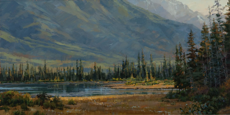 Evening Slipping In - Canadian Rockies  12 x 24 Oil