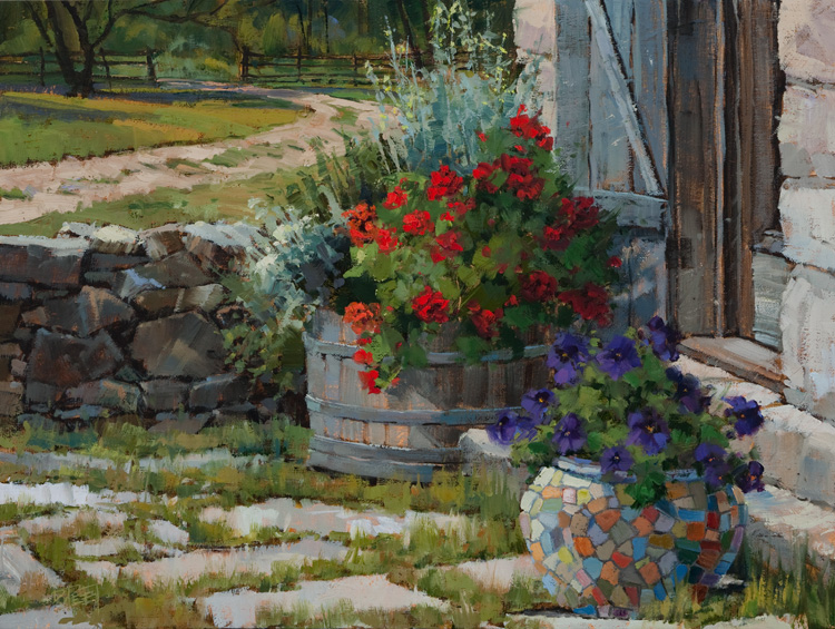 Geraniums, Petunias and Mosaic-Texas Hill Country  12 x 16 Oil