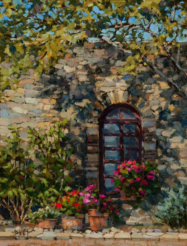 Mission Window-Mission Espada, San Antonio, TX  12 x 9 Oil