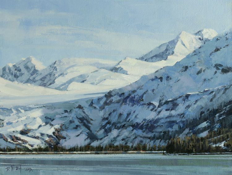 Sweep of Spring Snowfields-Prince William Sound  9 x 12 Oil
