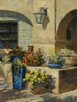 Blue Pots and Red Petunias-Tlaquepaque, Sedona  12 x 9 Oil