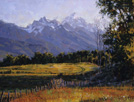 Braided in Dawn Sun - The Tetons  18 x 24 Oil