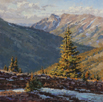 Deep Valley Blue #2  10 x 10 Oil - Settlers West Miniature Show
