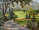 Morning Fairway Trimmed in Scarlet  11 x 14 Oil