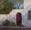 Red Door and Desert Marigolds  20 x 20 Oil