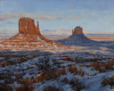 Snowy Dusk 1 - Monument Valley  8 x 10 Oil