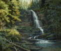 Summer Cool-Virginia Falls, Glacier Natl Park  10 x 12 Oil